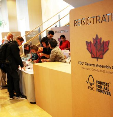 Registration desk at the FSC GA 2017